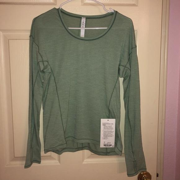 ef8b43ca5ce lululemon athletica Tops | Sweat Embrace Green Long Sleeve Lululemon ...